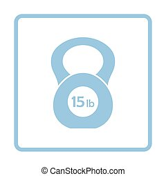 Kettlebell icon. Blue frame design. Vector illustration.