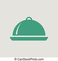 Restaurant cloche icon. Gray background with green. Vector...