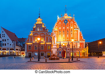 City Hall Square in the Old Town of Riga, Latvia - City Hall...