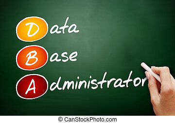 Hand drawn DBA - Database Administrator, acronym business...