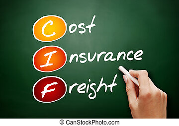 Hand drawn CIF - Cost Insurance Freight, acronym business...