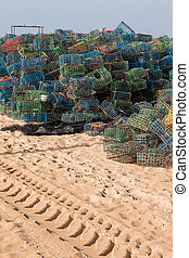 Fishing traps - Stack of several colorful fishing traps on...