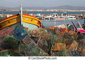 Fishing traps in culatra - Stack of several colorful fishing...
