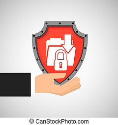 hand holding folder file shield protection data