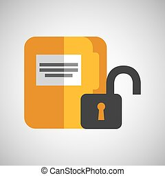 file document folder archive safety padlock