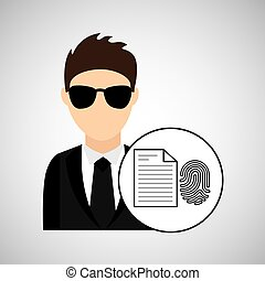 man cartoon fingerprint file digital technology security