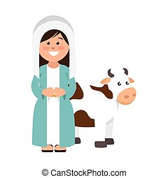 mary vigin with cow manger character