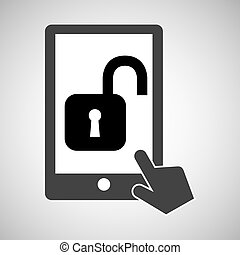 data protection smartphone padlock open icon vector...