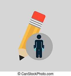 silhouette sitting business pencil creative icon