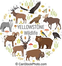 Circle vector set of plants and Yellowstone National Park...