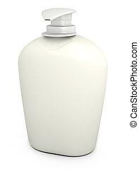 Soap bottle on white - Blank bottle of liquid soap against a...