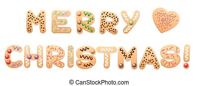 Merry Christmas Cookies - MERRY CHRISTMAS - written with...