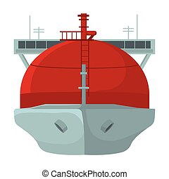 Oil tanker icon in cartoon style isolated on white...