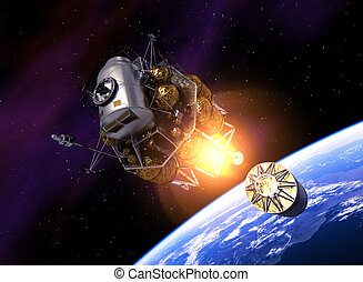Interplanetary Space Station Launch Into Space. 3D...