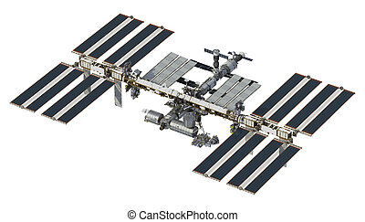International Space Station On White Background. 3D...