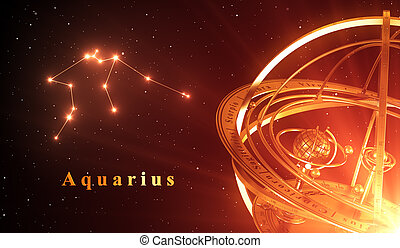 Zodiac Constellation Aquarius And Armillary Sphere Over Red...