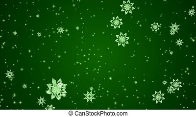 Video-animation of snowflakes and stars falling over green...
