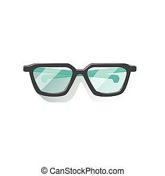 Glasses In Black Frame Office Worker Desk Element Part Of...