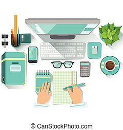 Office Worplace With Utilities And Stationary Including Computer, Coffee Cup, Glasses And Papers