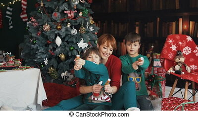 Family Having Fun with Christmas Petards - Mother and her...