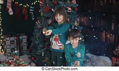 Kids Having Fun with Christmas Petards
