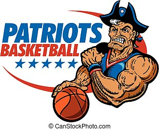 patriots basketball team design with muscular mascot player...