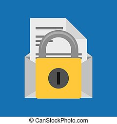 hand hold protected concept padlock email envelope