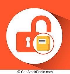 file document folder archive safety padlock