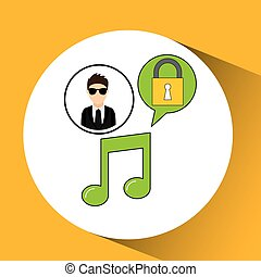 character man protected digital music vector illustration...