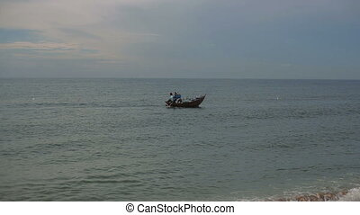 Traditional fishing boat on small waves. Vietnam hd -...