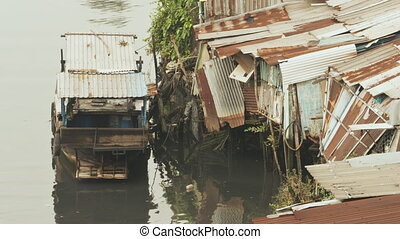 Slum on the river. Saigon. Vietnam. 8 View. - Views of the...