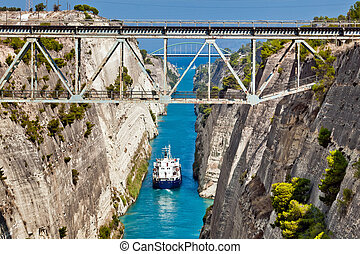 Ship cross The Corinth Canal that connects the Gulf of...