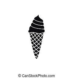 ice cream in waffle cone isolated
