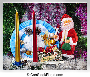 Festive background for a Christmas card with a doll of Santa Claus