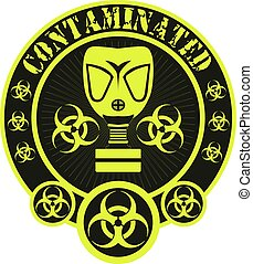 Contaminated Biohazard badge - Gas mask biohazard...