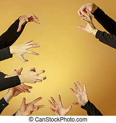 Many hands reaching out up in the air