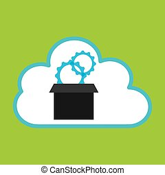 pc cloud gear digital web vector illustration eps 10