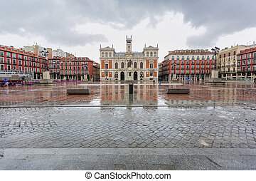 Valladolid - The Plaza Mayor of Valladolid, with the...