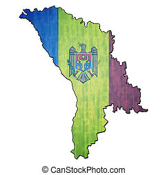 moldova territory with flag - map with flag of moldova with...
