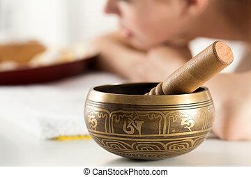 Nepal Buddha copper bowl at spa salon - Nepal Buddha copper...