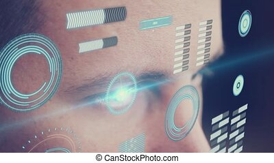 Digital animation of Eye looking at futuristic interface...
