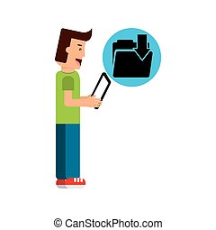 character boy with tablet email download folder