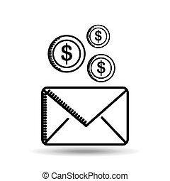 email money sending destination icon vector illustration eps...