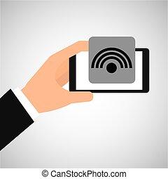hand holding smartphone internet wifi