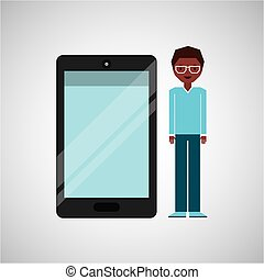 character man afro with smartphone shiny layer
