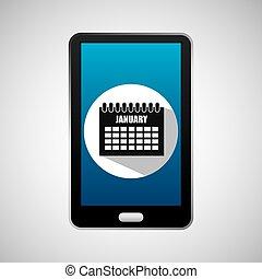 social media mobile calendar planning vector illustration...