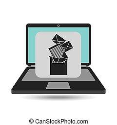 notebook computer messaging marketing vector illustration...