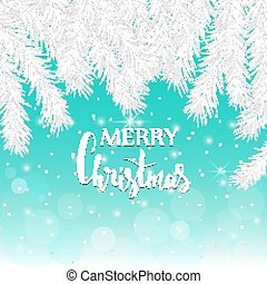 Silver spruce branches on a blue background. Christmas card.