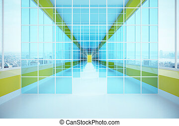 Futuristic glass corridor with city view. 3D Rendering