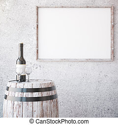 Wine and aged wooden frame - Barrel with wine glass and...